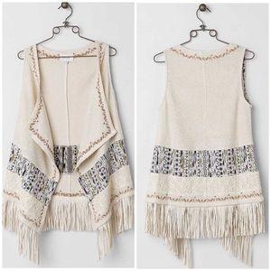 Buckle Miss Me Fringe Sweater Vest Size Large
